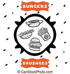 Cute hand drawn poster for cafe with sketch style burgers, french fries and sausages. Cartoon illustration.