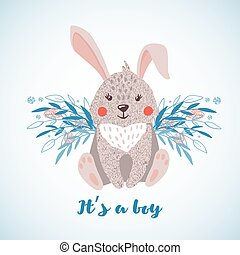 Cute hand drawn rabbit boy isolated on white.