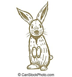 Cute Hand Drawn Rabbit Isolated on White.