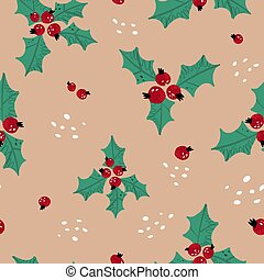 Cute hand drawn seamless pattern with Christmas traditional decoration - holly berries and leafs on beige background.. Vector illustration for wrapping paper, fabric or textile print and other design.