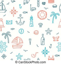Cute hand drawn seamless pattern with nautical elements. Marine symbols. Nautical icons