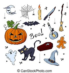 Cute hand drawn set of Halloween elements
