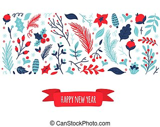 Cute hand-drawn set of winter elements with text Happy New Year. Nature vector illustration on Christmas theme. Great for website, postcard, invitation, advertising, banner or print.