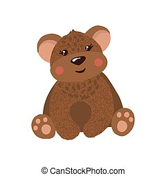 Cute hand drawn teddy bear isolated on white.