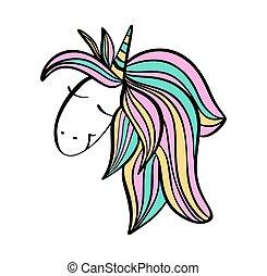 Cute hand drawn unicorn face. Vector cartoon character...