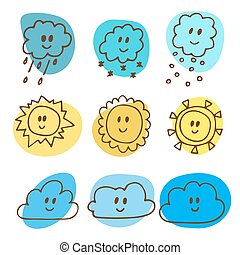 Cute hand drawn weather icons