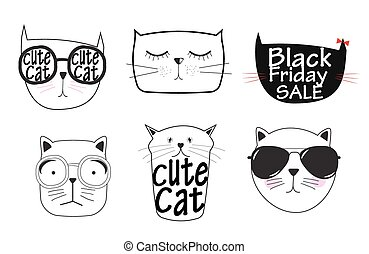 Cute Handdrawn Cat Set Vector Illustration
