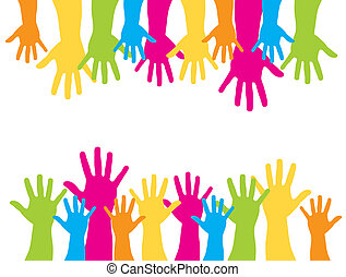 cute hands - colorful silhouette hands over white...