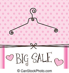 cute hanger with big sale text over pink background. vector
