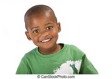 Cute happy 3 year old black boy