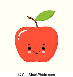 Cute Happy Apple Vector Illustration with Eyes and Face