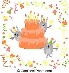 Cute Happy Birthday card .