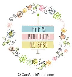 cute happy birthday card with cake and candle