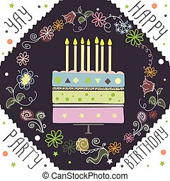 cute happy birthday card with cake and candles