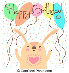 Cute happy birthday card with funny leveret. Vector...