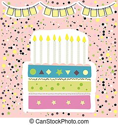 cute happy birthday party card with cake and candles