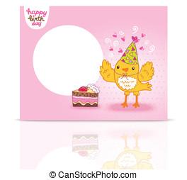 Cute Happy Birthday postcard template with a bird.