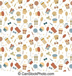 Cute Happy Birthday seamless pattern with colorful party elements. Funny background for your design