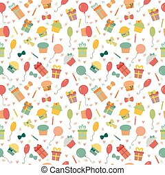 Cute Happy Birthday seamless pattern with colorful party elements. Party background for your design