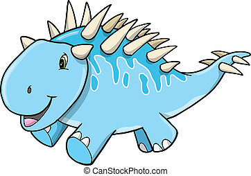 Cute Happy Blue Dinosaur Vector