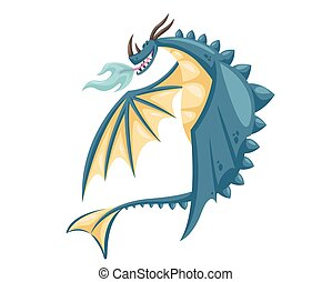Cute Happy Blue Flying Dragon Illustration - Ancient Cute...
