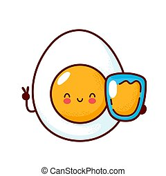 Cute happy boiled egg with orange juice glass