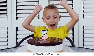 "Cute happy boy celebrating its fifth birthday, in front of him delicious cake with candle in the form of ""5"". Happy emotions of happy kid on a birthday, 5 year old, pie"