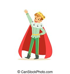 Cute happy boy prince in a golden crown and red cloak, fairytale costume for party or holiday vector Illustration