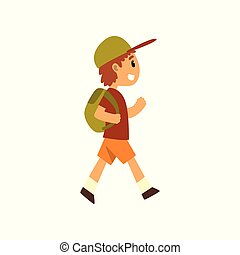 Cute happy boy traveling with backpack vector Illustration on a white background