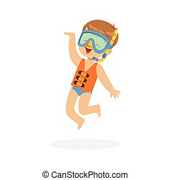 Cute happy boy wearing orange life jacket, snorkel and mask, kids summer vacation colorful character vector Illustration