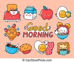 Cute happy breakfast food set collection