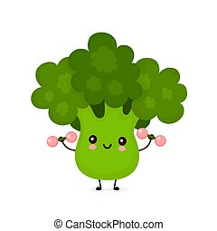 Cute happy broccoli vegetable with dumbells