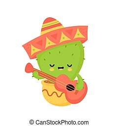 Cute happy cactus with guitar in mexican hat