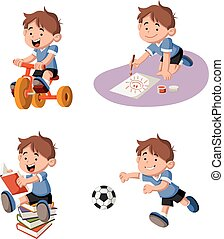 Cute happy cartoon boy playing.