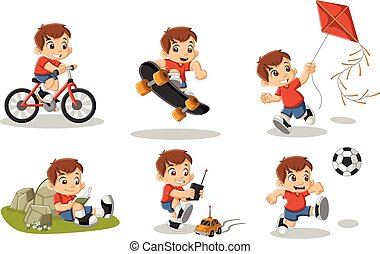 Cute happy cartoon boy playing