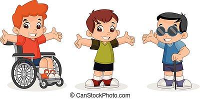 Cute happy cartoon boys. Blind boy.