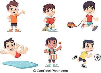 Cute happy cartoon boys playing.