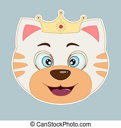 Cute happy cartoon cat princess smiles. Greeting card