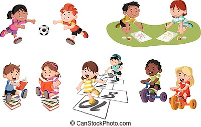 Cute happy cartoon children playing.