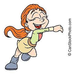 Cute Happy Cartoon Girl