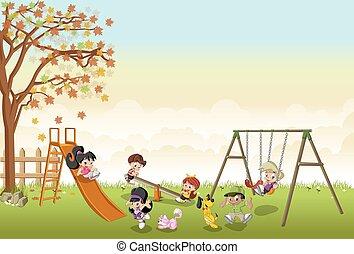 cartoon kids playing in playground on the backyard