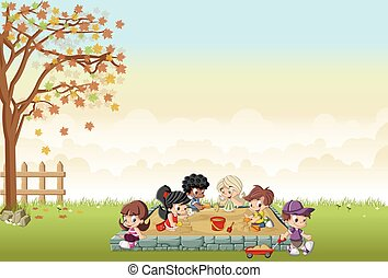 cartoon kids playing in sandbox on the backyard