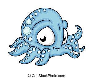 Cute Happy Cartoon Octopus