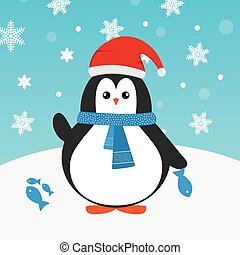 Cute happy cartoon penguin with red Santa hat and blue scarf and fish greeting card for Merry Christmas and New Year?s celebration under snowflakes and snow vector illustration.