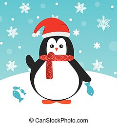 Cute happy cartoon penguin with red Santa hat and red scarf and fish greeting card for Merry Christmas and New Year?s celebration under snowflakes and snow vector illustration.