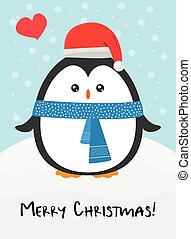 Cute happy cartoon penguin with Santa red hat and blue scarf greeting card for Merry Christmas and New Year?s celebration under snow with love heart vector illustration.