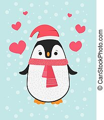 Cute happy cartoon penguin with Santa red hat and red scarf greeting card for Merry Christmas and New Year?s celebration under snow with love hearts vector illustration.