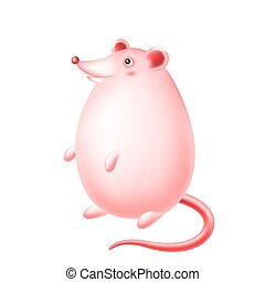 Cute happy cartoon rat character.