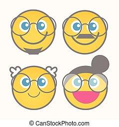 Cute Happy Cartoon Smiley Set