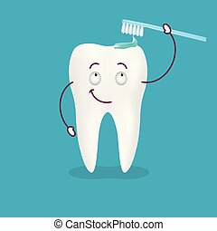 Cute Happy Cartoon Tooth With Its Smiling Toothbrush With Toothpaste On It Isolated On A Background. Vector Illustration.